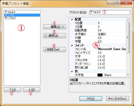 字幕プリセット編集